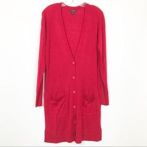 Halogen Red Wool Blend Long Button Down Cardigan